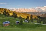 Longiarù, San Martino in Badia, Badia Valley, Dolomites, Bolzano province, South Tyrol, Italy. Some huts with Sasso della Croce in the background.