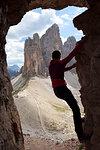 Bouldering at Passaporto Fork, Dolomites, Auronzo di Cadore, Belluno, Veneto, Italy