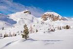 The snowy fields of Passo Valparola, Belluno, Veneto, Italy, Europe