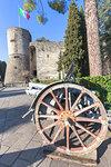 Artillery exposed in the park of Rimembranze (Parco delle Rimembranze), located outside the fortress of Bergamo (Rocca di Bergamo). Bergamo, Lombardy, Italy.