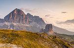 Tofane and Cinque Torri groups at dawn, Cortina d'Ampezzo, Belluno district, Veneto, Italy