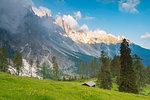 Sunrise in the pastures under Latemar, Val d'Ega / Eggental, Dolomites, Province of Bolzano, South Tyrol, italian alps, Italy