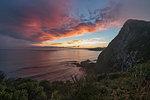 Sunset from Nugget Point. Ahuriri Flat, Clutha district, Otago region, South Island, New Zealand.