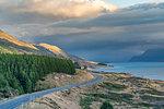 Road alongside Lake Pukaki, looking towards Mt Cook NP. Ben Ohau, Mackenzie district, Canterbury region, South Island, New Zealand.