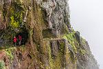 People walking on the trail from Pico Ruivo to Pico do Areeiro. Santana, Madeira region, Portugal.