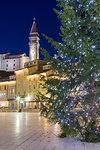 Close up of a christmas tree in Tartini square, Piran, Istria, Slovenia