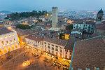 Piazza Vecchia from above at dusk, Bergamo, Lombardy, Italy.