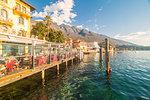 Charming restaurant on the lakefront of Malcesine on the eastern shore of Lake Garda, Verona province, Veneto, Italy.