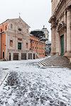 The Church of San Giuseppe dei Falegnami and Church of Santi Luca e Martina after the great snowfall of Rome in 2018 Europe, Italy, Lazio, Province of Rome, Rome
