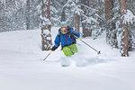 Freeride skier in Aosta Valley (Rhemes-Notre-Dame, Rhemes Valley, Aosta province, Aosta Valley, Italy, Europe) (MR)