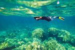 Tourist snorkeling in the Andaman Sea, Krabi province, Thailand.