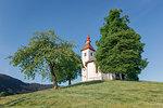 Europe, Slovenia, municipality of Skofja Loka, the church of St. Thomas (Sveti Tomaz) on a hilltop in the Slovenian countryside