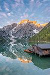 Braies / Prags, Dolomites, South Tyrol, Italy. The Lake Braies / Pragser Wildsee at sunrise