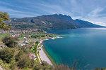 Torbole sul Garda, Lake Garda, Trento province, Trentino Alto Adige, Italy, Europe. View from Mount Brione to Torbole sul Garda
