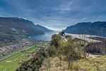 "Torbole sul Garda, Lake Garda, Trento province, Trentino Alto Adige, Italy, Europe. View from Mount Brione with the Fort ""Middle Battery"" to Torbole sul Garda"