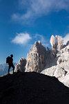Cristallino di Misurina, Misurina, Dolomites, province of Belluno, Veneto, Italy. A climber admired the Campanile Dibona, also called lobster claw