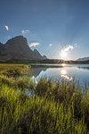 Sesto / Sexten, province of Bolzano, Dolomites, South Tyrol, Italy. Sunrise at the lake Piani