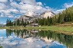 Misurina, Dolomites, province of Belluno, Veneto, Italy. The lake Antorno with the Cristallo group in the background