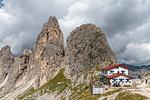 Misurina, Dolomites, province of Belluno, Veneto, Italy. The refuge Fonda Savio in the Cadini mountain group