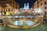 Rome, Lazio, Italy. Spanish square and Trinità dei Monti.