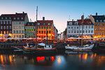 Blue Hour in Nyhavn, Copenhagen, Hovedstaden, Denmark, Northern Europe.