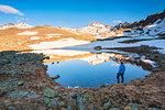 Alpine lake in Vallecamonica, Brescia province, Lombardy district, Italy.