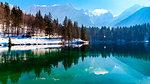 The inferior lake of Fusine, Udine province, Friuli Venezia-Giulia Region, Italy, in a winter afternoon.