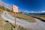 Hiking signage of Stelvio National Park, Val Vezzola, Valdidentro, Valtellina, Sondrio province, Lombardy, Italy