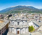 Panoramic elevated view of Collegiata San Giovanni, Morbegno, province of Sondrio, Valtellina, Lombardy, Italy