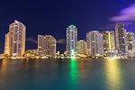 Night skyline of Downtown Miami from Brickell Key, Miami, Florida, USA, North America