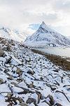 The snowy peak of Volanstinden seen from Fredvang, Lofoten Islands, Norway