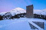 Belvedere Tower and Piz Lunghin in the background, Maloja Pass, Bregaglia Valley, canton of Graubunden, Engadin, Switzerland