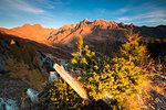Monte Disgrazia Corni Bruciati and Valle Airale seen from Sasso Bianco in autumn, Valmalenco, Valtellina, Lombardy, Italy