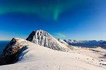 Northern ligth (aurora borealis) from the summit of mount Brosmetind, Tromvik, Troms, Norway, Europe
