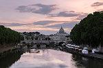 Saint Peter's Basilica and ponte degli Angeli at sunset, Rome, Lazio, Italy