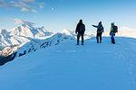 Marmolada at sunrise in winter Europe, Italy, Veneto, Belluno district, Giau pass