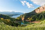 apple orchards in spring Season Europe, Italy, Trentino, Non valley, lake santa Giustina