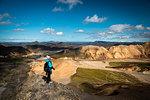 Photographer at Landmannalaugar, Icelandic highlands, Iceland