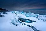 A fresh split of the ice at lake Baikal, Irkutsk region, Siberia, Russia