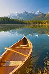Canoe on Herbert Lake at sunrise, Banff National Park, UNESCO World Heritage Site, Alberta, Rocky Mountains, Canada, North America