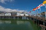 View of flags on Stearns Wharf, Santa Barbara, Santa Barbara County, California, United States of America, North America