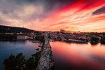 Charles Bridge at sunset, Prague, Czech Republic