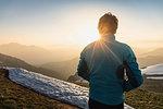 Hiker trekking French Alps, Parc naturel régional du Massif des Bauges, Chatelard-en-Bauges, Rhone-Alpes, France