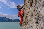 Woman rock climbing, Squamish, Canada