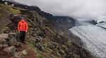 Man hiking along Skaftafellsjokull glacier, Austur-Skaftafellssysla, Iceland