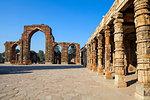Pillared cloisters, Quqqat-UL-islam Mosque, Qutub Minar, UNESCO World Heritage Site, Delhi, India, Asia