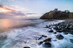 Criccieth Castle, above Criccieth Beach at sunrise, Gwynedd, North Wales, United Kingdom, Europe