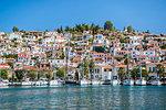 Sailing boats in Poros Island port, Saronic Island, Aegean Coast, Greek Islands, Greece, Europe