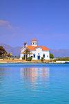 The Harbour and Agios Spyridon Church, Elafonisos Island, Laconia, The Peloponnese, Greece, Europe