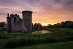 Caerlaverock Castle at sunset, Dumfries and Galloway, Scotland, United Kingdom, Europe